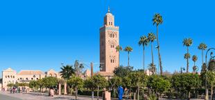 Hoog gebouw in Marrakech met pleintje en palmbomen