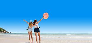 2 meiden op het strand