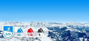 Skigebied Gastein met besneeuwde bergen