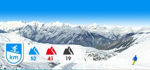 Skigebied Hochzillertal Hochfugen met besneeuwde bergen