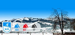 Skigebied Kitzbuhel Kirchberg met besneeuwde bergen