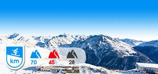 Skigebied Otztal Arena met besneeuwde bergen