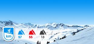 Skigebied Salzburger Sportwelt met besneeuwde bergen