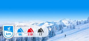 Skigebied Schladming Dachstein met besneeuwde bergen