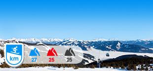 Skigebied Schmitten Zell Am See met besneeuwde bergen