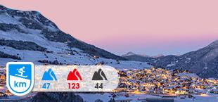 Skigebied Serfaus Fiss Ladis met besneeuwde bergen