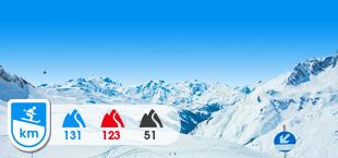 Skigebied Arlberg met besneeuwde bergen
