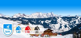 Skigebied Saalbach Hinterglemm Leogang Fieberbrunn met besneeuwde bergen