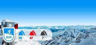 Skigebied Zugspitz met besneeuwde bergen