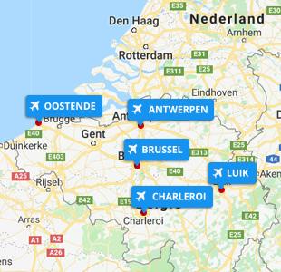 Kaart met locatie van vliegvelden België