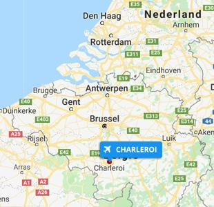 Kaart Luchthaven Charleroi in Belgie Prijsvrij.be