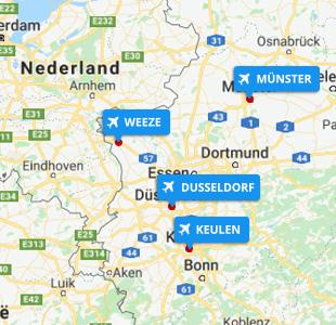 Kaart met locatie van vliegvelden Duitsland