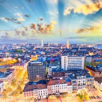 Luchtfoto van de stad Antwerpen