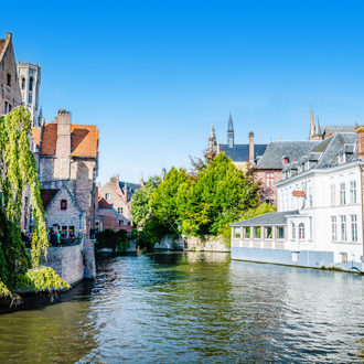 Het waterkanaal in Brugge in Belgie