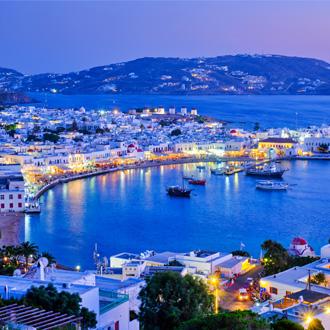 De haven in Mykonos, Griekenland
