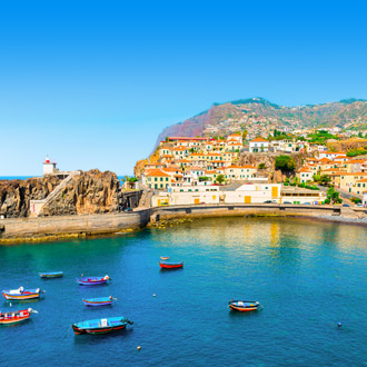 De haven van Camara de Lobos op het eiland Madeira