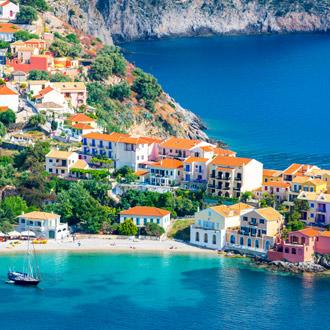 Dorp Assos op Kefalonia in Griekenland