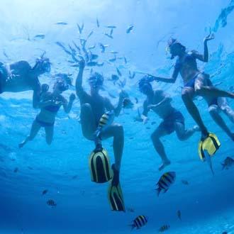 Duikers in zee bij de Dominicaanse Republiek