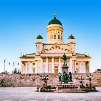 Een kathedraal in de stad Helsinki in Finland