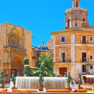 Fontein Rio Turia op het plein van de Heilige Maagd Maria in Valencia