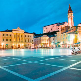 Foto van het centrale plein in Porec, Istrië, Kroatië