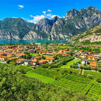 Gardameer en de wijngaarden in de buurt van Torbole stad, Italië, Europa
