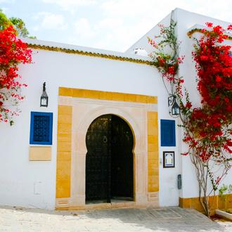 Een kleurrijk gebouw met rode bloemen in Mahdia, Tunesie