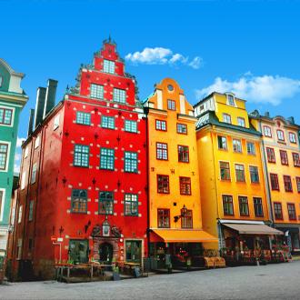 Gekleurde huisjes in de binnenstad van Stockholm