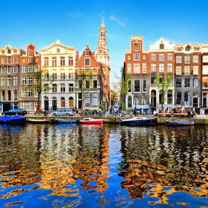 grachten panden in Amsterdam Nederland