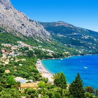 Het Barbati Beach op Corfu, Griekenland