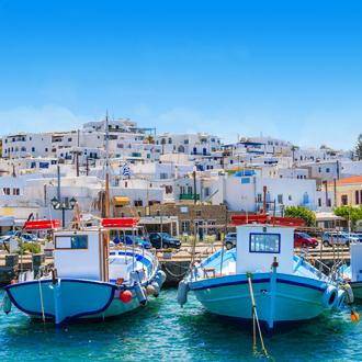 Vissersboten in het vissersdorpje Naoussa op het Griekse eiland Paros