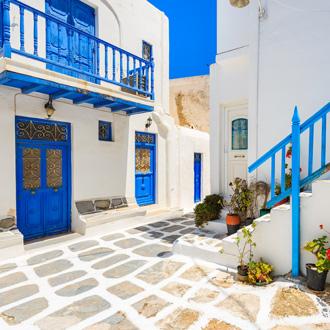 Griekse architectuur in Mykonos-stad in Griekenland