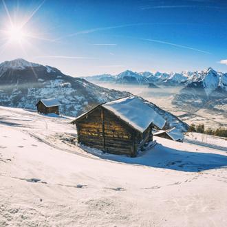 Huisjes in de bergen bij Veysonnaz