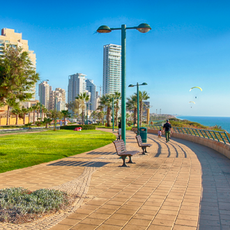 De promenade van Netanya in Israel