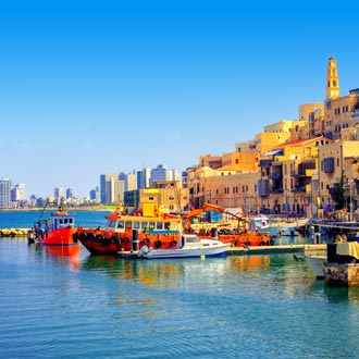 Haven en oude stad van Jaffa in Israel
