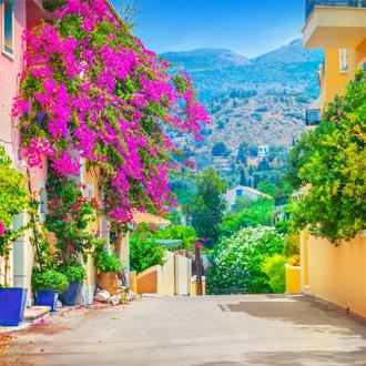 Griekse straat met roze bloemen