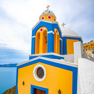Kerkje in Thira, Santorini, Griekenland