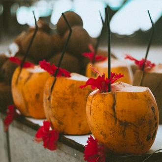 Kokosnoot cocktails, Seychellen