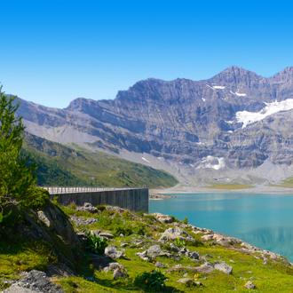 Landschap Barrage De Salines Wallis, Zwitserland