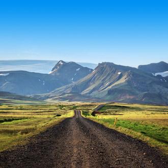 Landschap in IJsland met weg en bergen