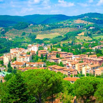 Uitzicht over de oude stad San Gimignano, Toscane
