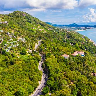 Luchtfoto van Tropisch strand en zee, Koh Samui, Thailand