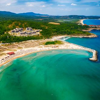 Luchtfoto van de regio Arkutino naast Dyuni, Burgas, Bulgarije