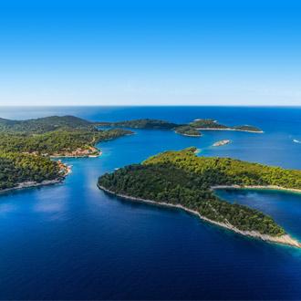 Luchtfoto van nationaal park op het eiland Mljet