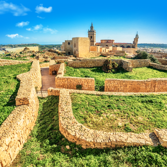 Uitzicht op de Victoria Citadel in Gozo op Malta