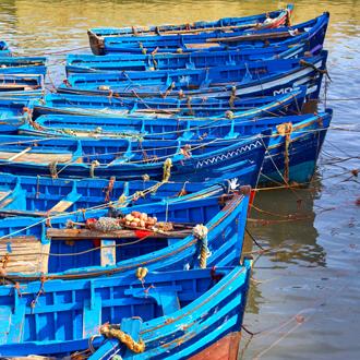 Marokko-Blauwe-bootjes-in-de-haven-van-Essaouira