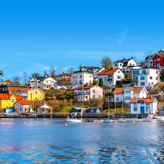 Huisjes aan het water in Stockholm