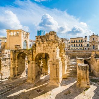 Oud Romeins Amphitheater in Lecce, Puglia, Italy