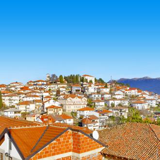 Luchtfoto oude stad Ohrid, Macedonië