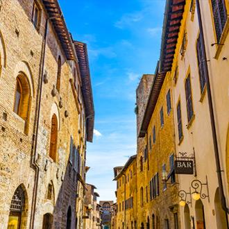 Oude gebouwen in San Gimignano, Italië